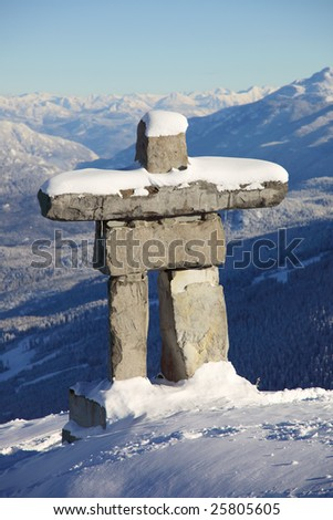A structure similar to an inuksuk but meant to represent a human figure, called an inunnguaq is a traditional native sculpture.