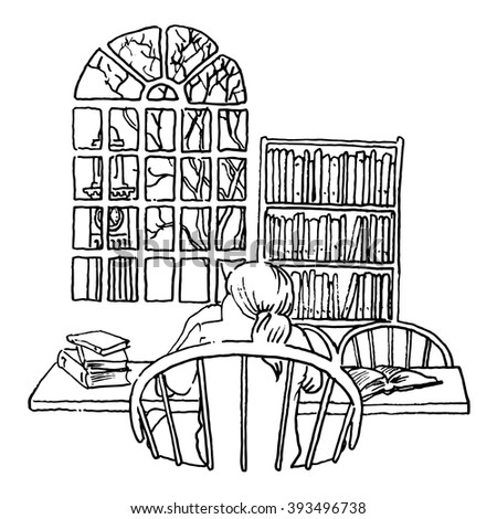 A student studying in a library line illustration  - stock photo