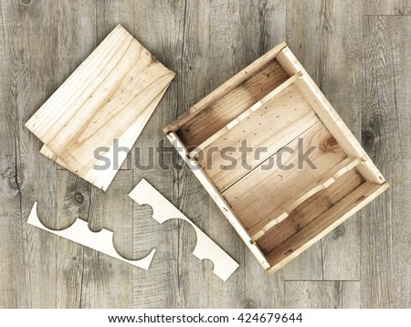 A studio close up of a wooden wine box - stock photo