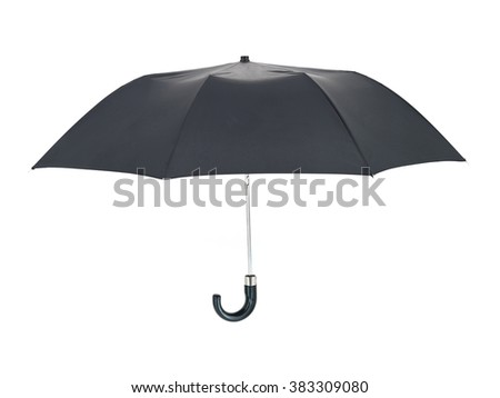 A studio photo of a black umbrella - stock photo