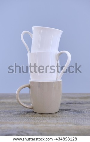 A studio photo of a cup stack - stock photo