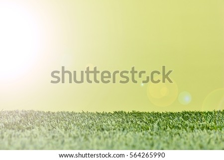 A studio photo of artificial grass with a blue background