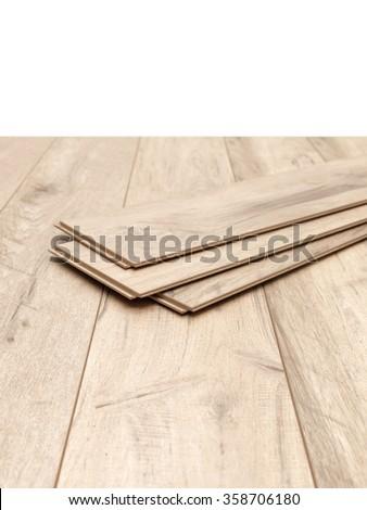 A studio photo of timber laminate flooring