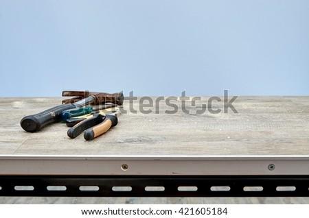 A studio photo of workshop tool bench - stock photo