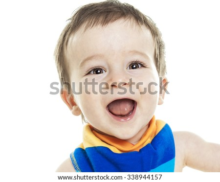 A Studio Portrait Of Baby Boy on studio white background.