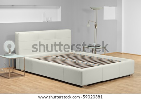 A studio shot of a bed  without mattress - stock photo