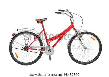 A studio shot of a bicycle isolated against white background