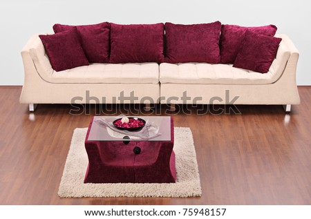 A studio shot of a modern white furniture decorated with red pillows - stock photo