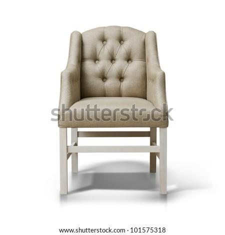 A studio shot of armchair isolated on white background - stock photo