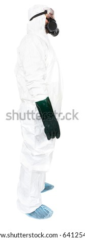 A studio side profile of a bio hazard materials man on a white background. - stock photo