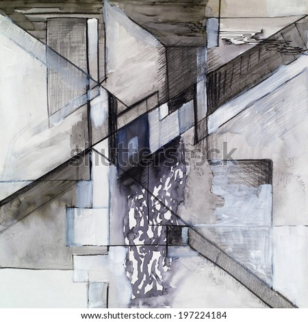 A study for an abstract painting, using pen and ink, pencil, crayon, and white paint - stock photo