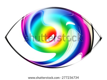 A stunning abstract eye icon design element in multicolor and white isolated on white - stock photo