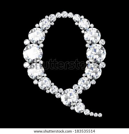 "A stunning beautiful ""Q"" set in diamonds - stock photo"