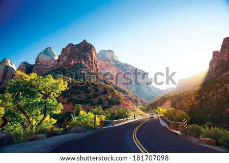 A stunning view of Zion Canyon - stock photo