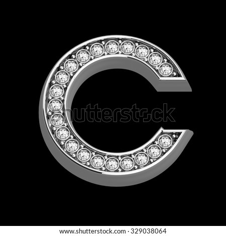 """A stunningly beautiful """"C"""" set in diamonds and silver.  - stock photo"""