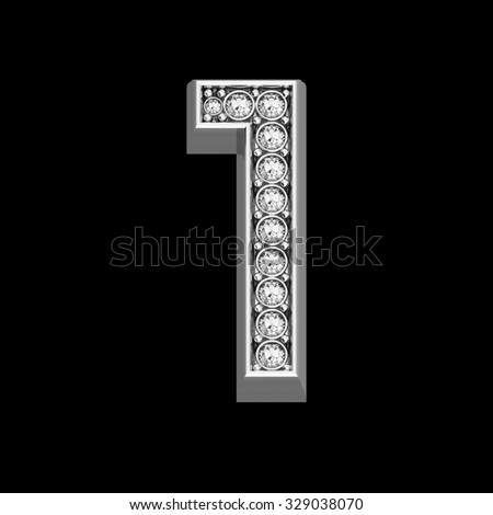 """A stunningly beautiful """"1"""" set in diamonds and silver.  - stock photo"""