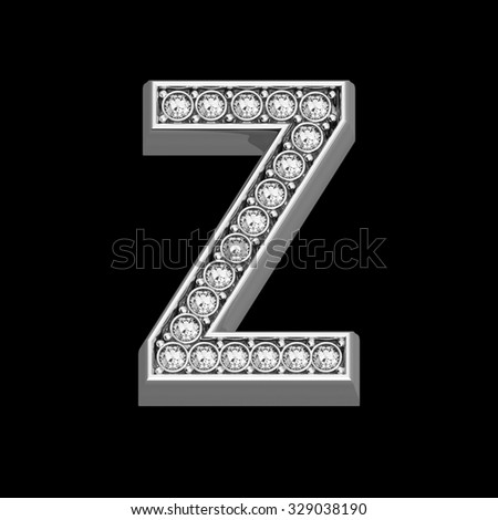 """A stunningly beautiful """"Z"""" set in diamonds and silver.  - stock photo"""