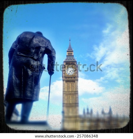 A stylised retro view of Big Ben, London, with the statue of Winston Churchill appearing to make his way to the Houses of Parliament, - stock photo