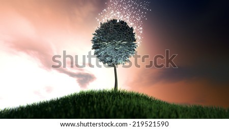 A stylised tree with leaves made up of british pound bank notes surrounded by magical sparkles on a grassy green hill on a dramatic dawn sky background with clouds - stock photo
