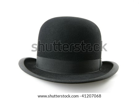 A stylish black bowler hat - isolated on white background