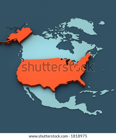 A stylish 3D map of the USA - stock photo