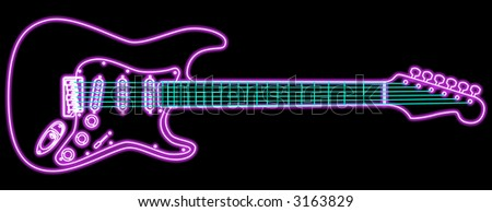 Fender Guitar Stock Royalty Free & Vectors #0: stock photo a stylized drawing of an electric guitar with neon piping