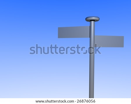 A stylized guidepost in front of shiny blue background.