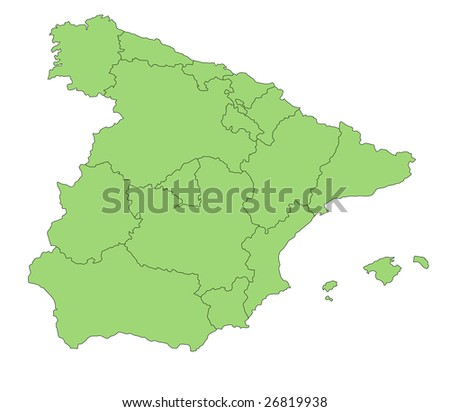 A stylized map of Spain showing the different provinces.