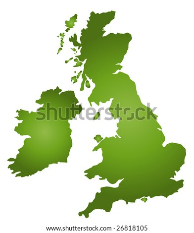 A stylized map of the United Kingdom in green tone. All isolated on white background. - stock photo