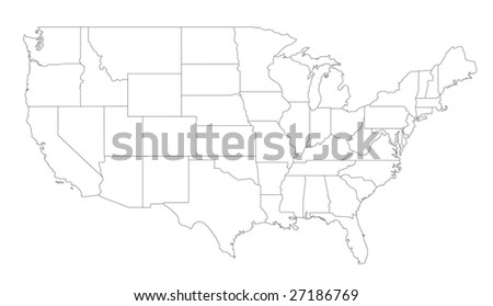A stylized map of the United States of America showing the different states. All isolated on white background. - stock photo