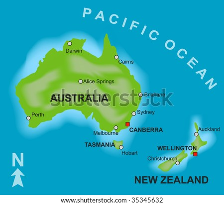Australia new zealand map stock images royalty free images a stylized map showing the countries of australia and new zealand sciox Gallery