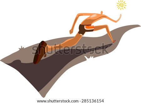 A stylized silhouette of a runner runs down the road while the sun shines brightly.