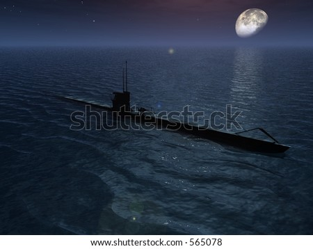 A submarine surfaced at night - stock photo