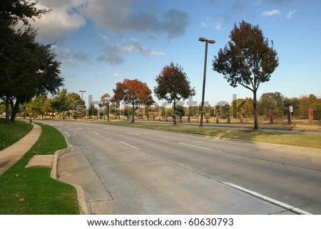 a suburban road - stock photo