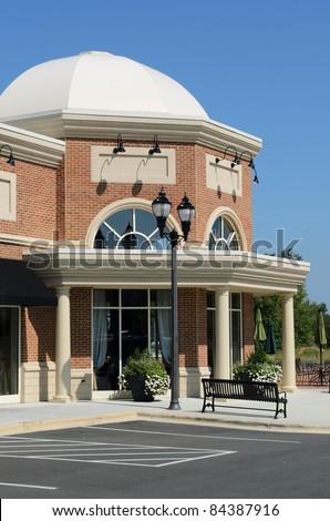 A suburban shopping center restaurant - stock photo