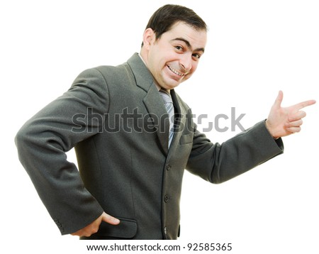A successful businessman, points his finger on a white background.