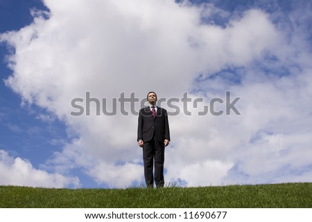 a successful businessman standing at the top of the field