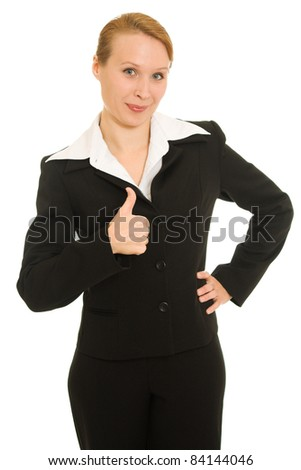A successful businesswoman on a white background.