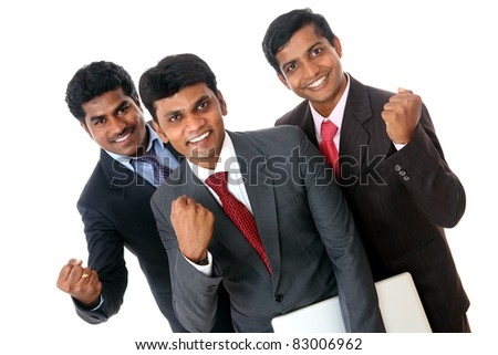 A Successful Indian business team isolated on white. - stock photo