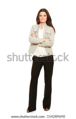 A successful young businesswoman, isolated on white - stock photo