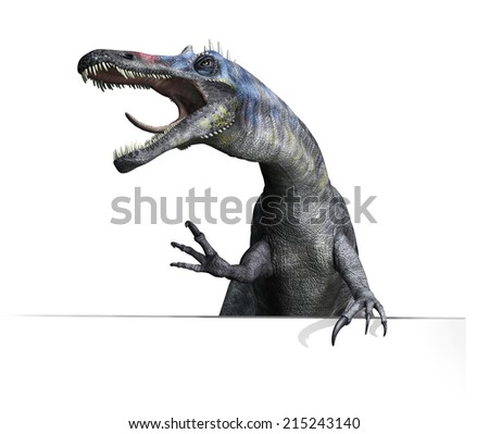 A Suchomimus dinosaur on an edge or border, getting ready to attack. The Suchomimus was a dinosaur that lived in Africa during the Cretaeous Period. - stock photo