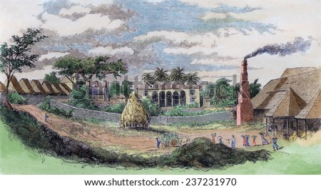 A sugar plantation in Cuba showing slave quarters left owner's house center and sugar mill on right in 1852. Engraving from Harper's Magazine with modern watercolor. - stock photo
