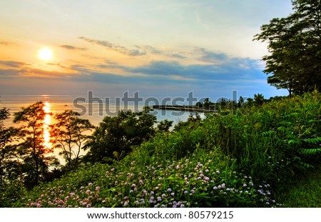 a summer sunset at Bayfield Beach, Ontario - stock photo