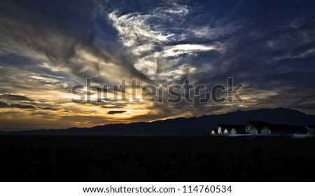A summer sunset in Eagle Mountain UT. - stock photo