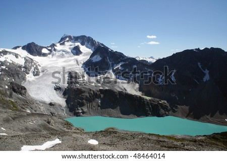 A summer view of Wedgemount lake and glacier in BC, Canada.