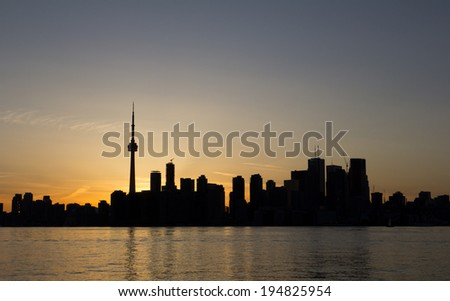 A sunet silhouette of Toronto with Copy space - stock photo