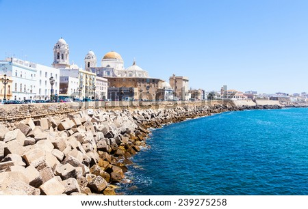 A sunny day with a deep blue sky in Cadiz, Andalusia region, South of Spain. - stock photo