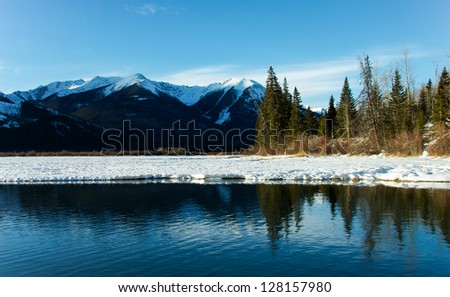 A sunny winter day at Vermillion Lakes in Banff National Park, Alberta, Canada.