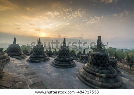 A sunrise at Borobudur temple, Indonesia.