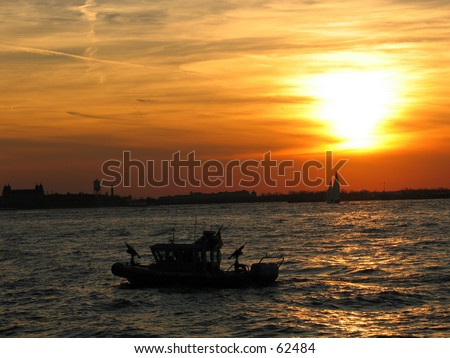 a sunset background in ny - stock photo